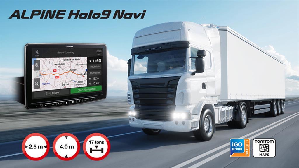 Alpine Halo9 Navi for lastebiler og større bobiler