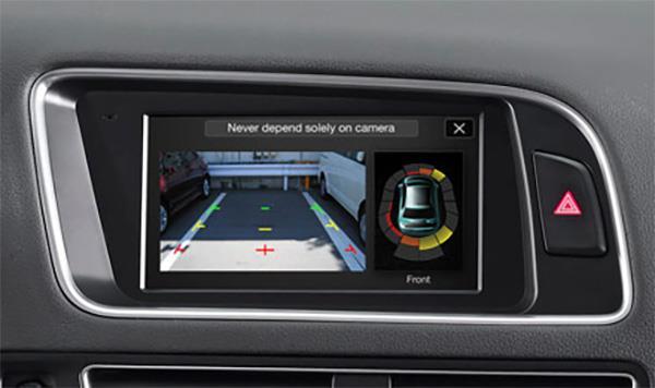 Visning av parkering sensorer og ryggekamera