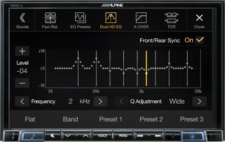 Alpine X802D-U har High-end lyd-innstillinger