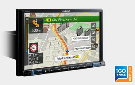 Alpine X802D-U har innebygget iGo Primo NextGen Navigasjon