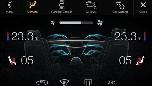 Alpine X701D har visuell visning av varmeapparat mm.