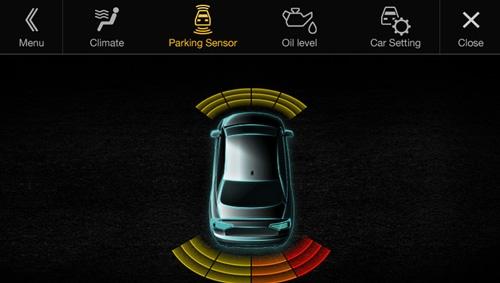 Alpine X701D kan vise deg et visuellt grensesnitt av parkeringsensorer