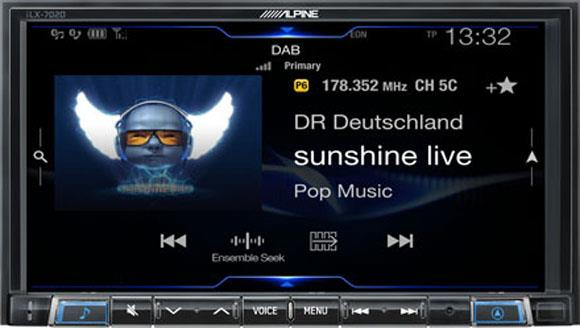 Alpine iLX-702D har innebygget DAB/DAB+ radio