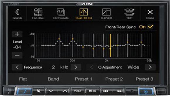 Alpine iLX-702D har High-end lyd-innstillinger