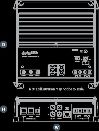 Dimensjonene til JL Audio M200/ 2
