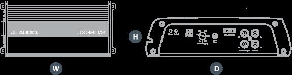 Dimensjoner JL Audio JX360/2 stereo forsterker