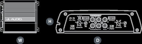 Dimensjoner JL Audio JX400/4D firekanals forsterker