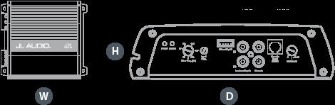 Dimensjoner JL Audio JX500/1D mono forsterker